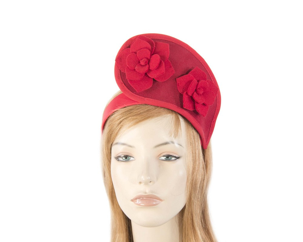Red tall winter racing crown fascinator