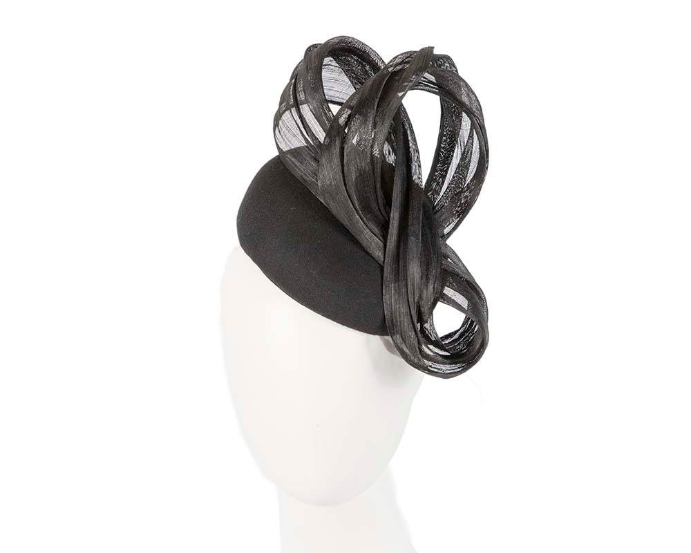 Black autumn winter racing pillbox with silk bow
