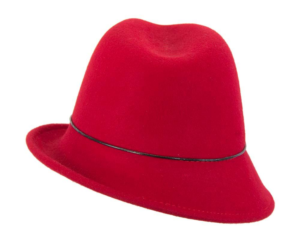 Red felt ladeis winter fedora hat