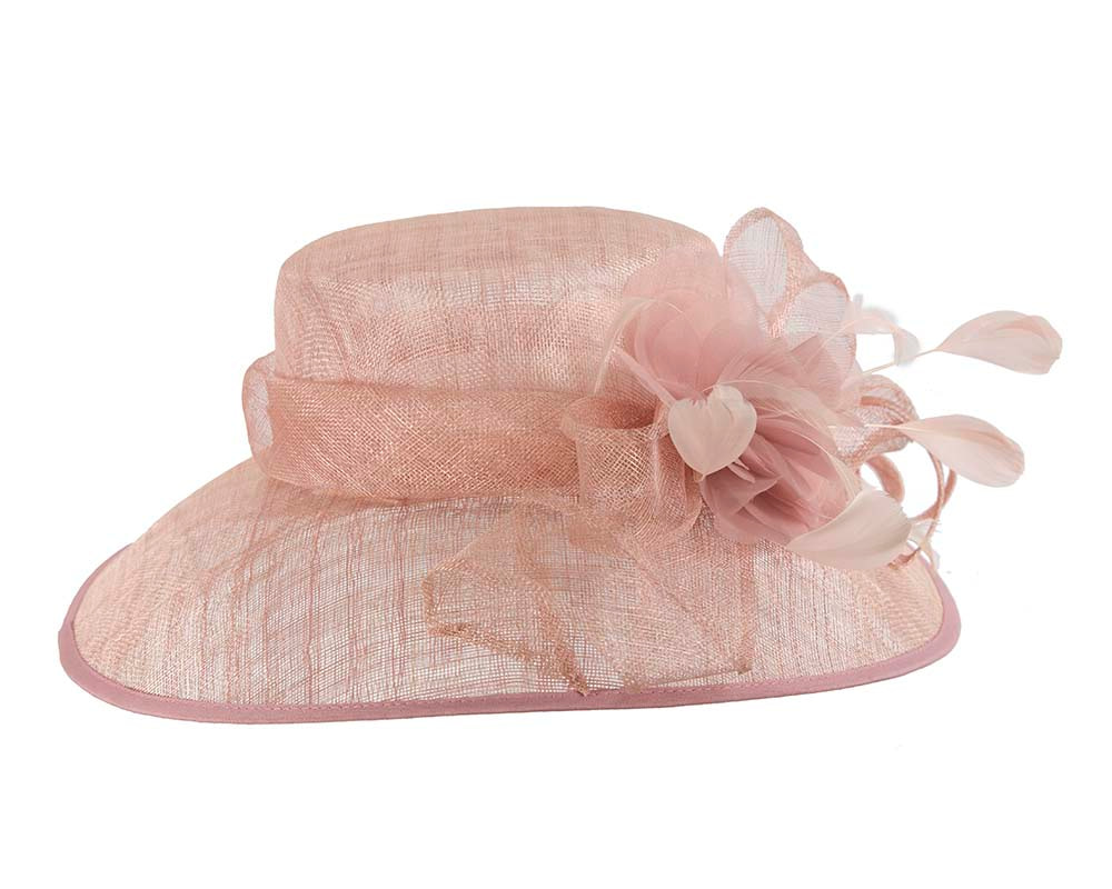Large Dusty Pink Ladies Fashion Racing Hat by Cupids Millinery