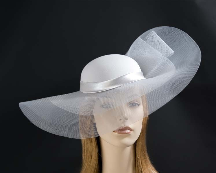 Silver large brim custom made ladies hat