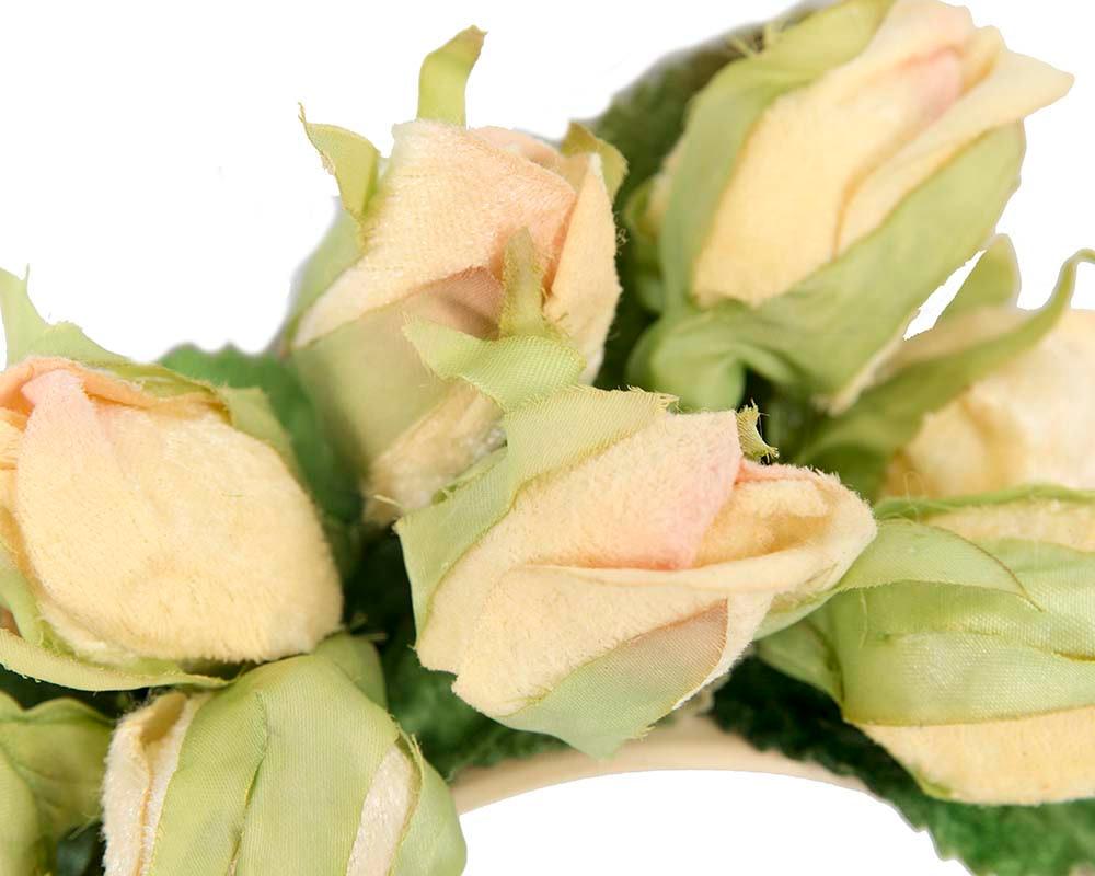 Light yellow rose flower headband fascinator by Max Alexander