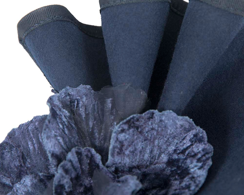 Large navy felt flower winter fascinator by Fillies Collection