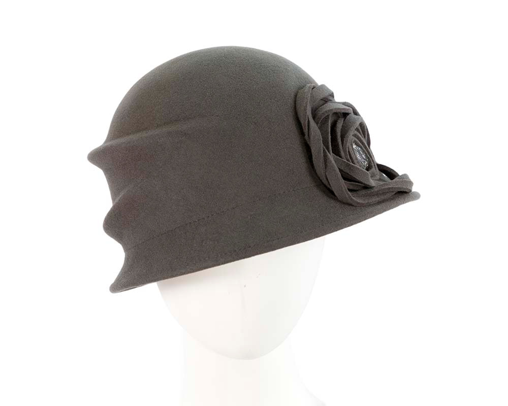 Grey winter fashion bucket hat by Cupids Millinery