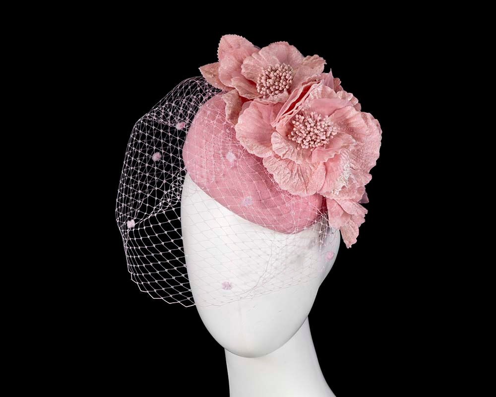 Pink winter racing felt pillbox with flower and veiling by Fillies Collection