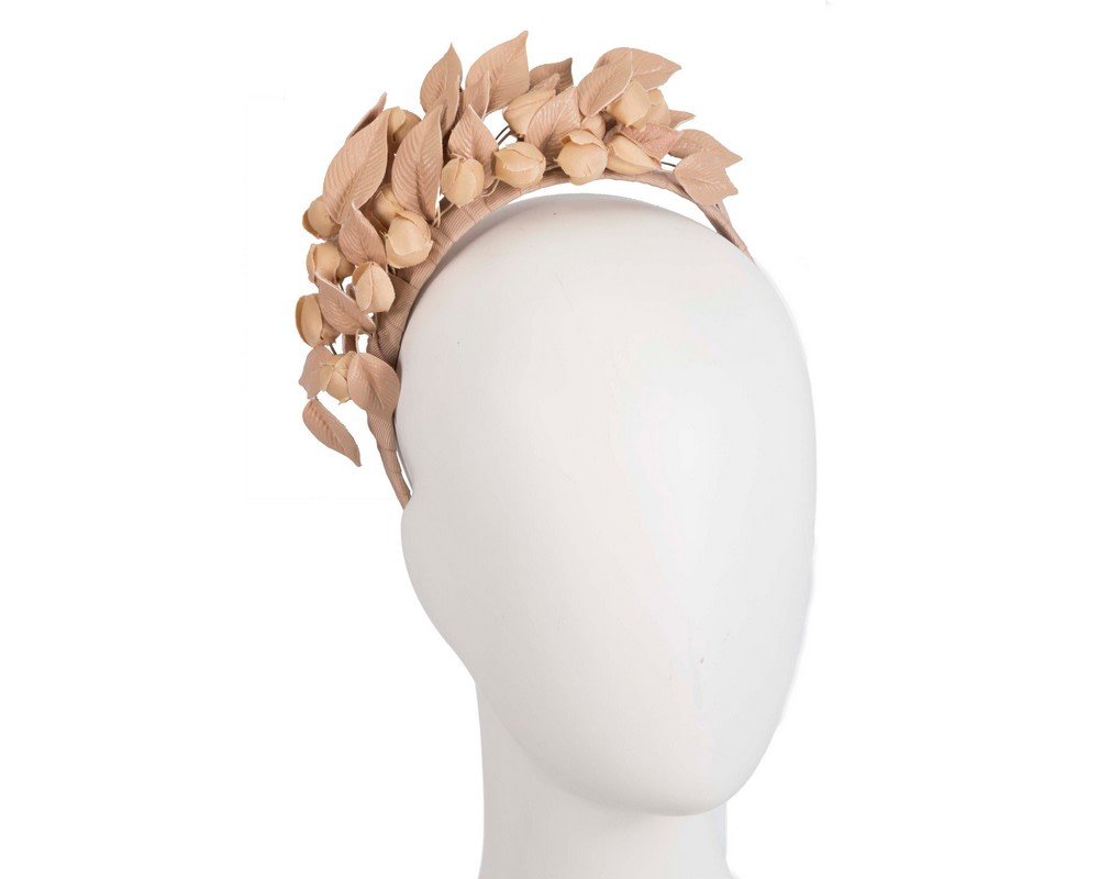 Nude sculptured leather flower headband fascinator by Max Alexander