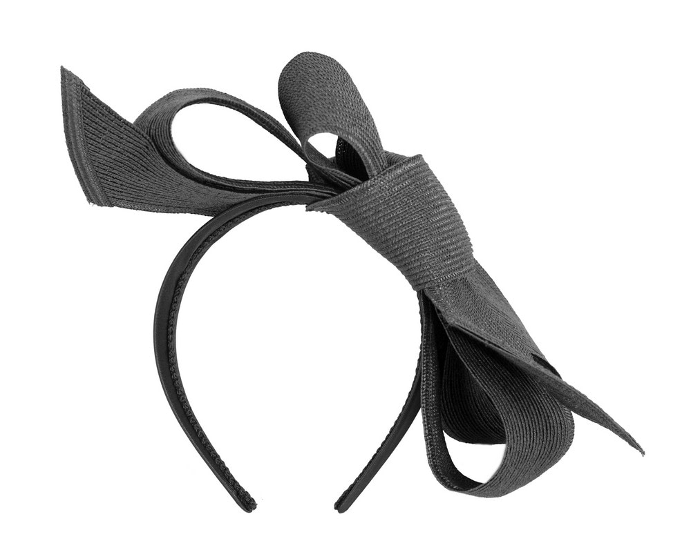 Large black bow racing fascinator by Max Alexander
