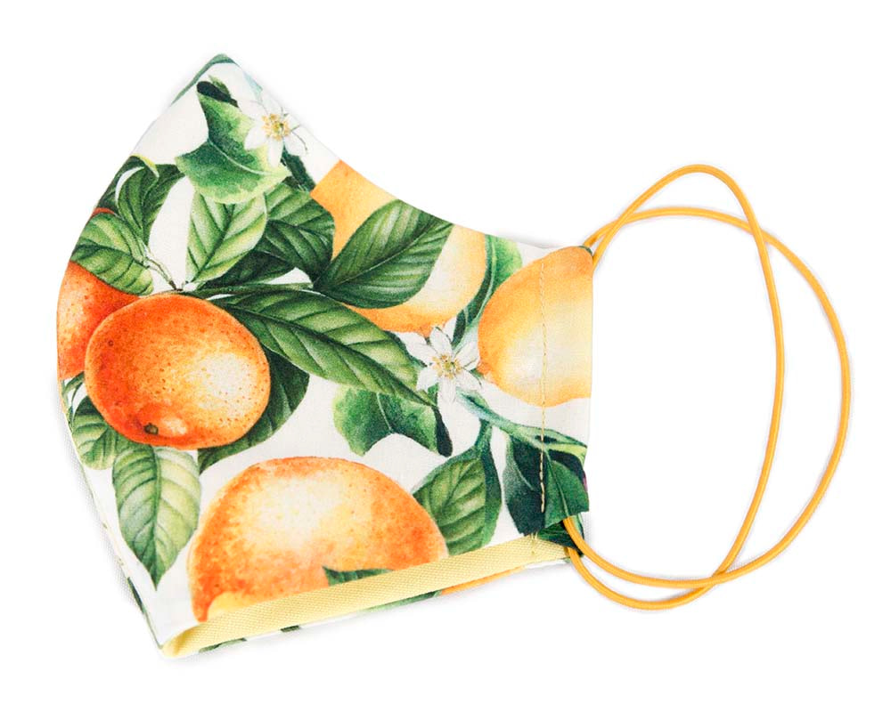 Comfortable re-usable cotton face mask with orange print