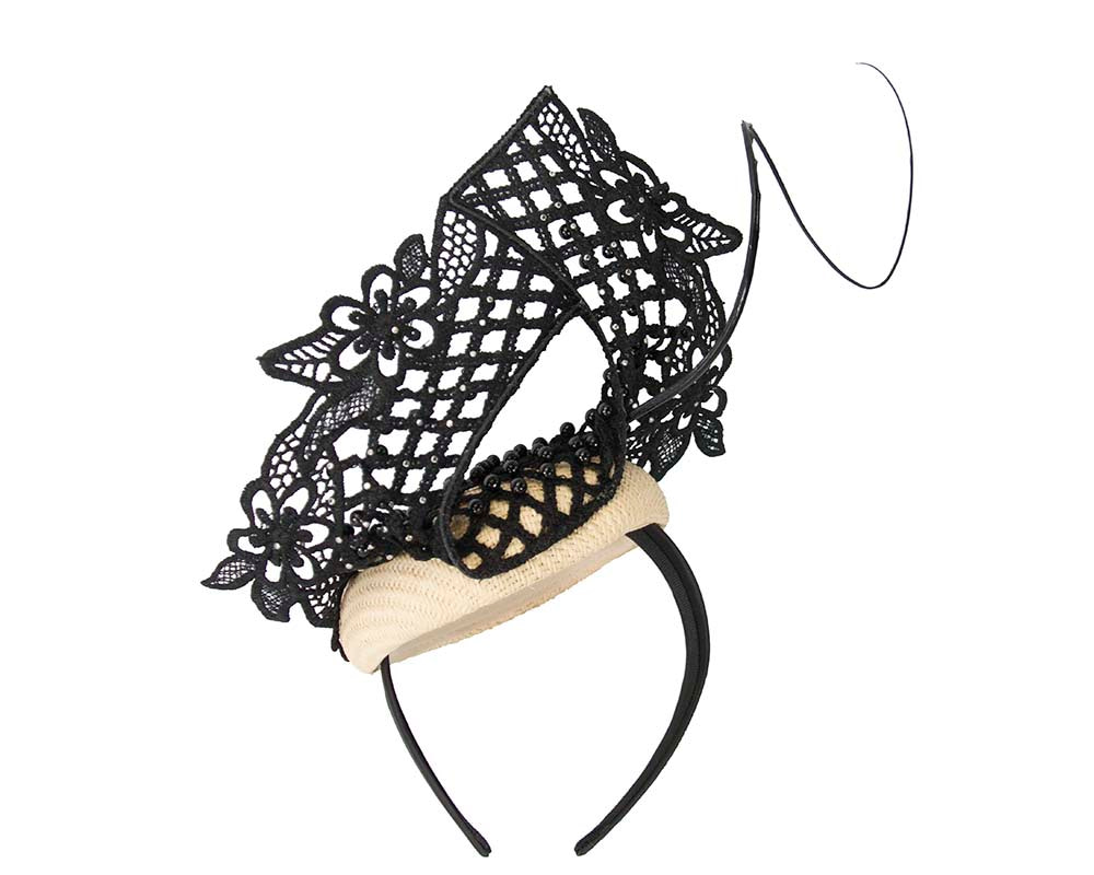 Natural & black racing fascinator with beaded lace by Fillies Collection