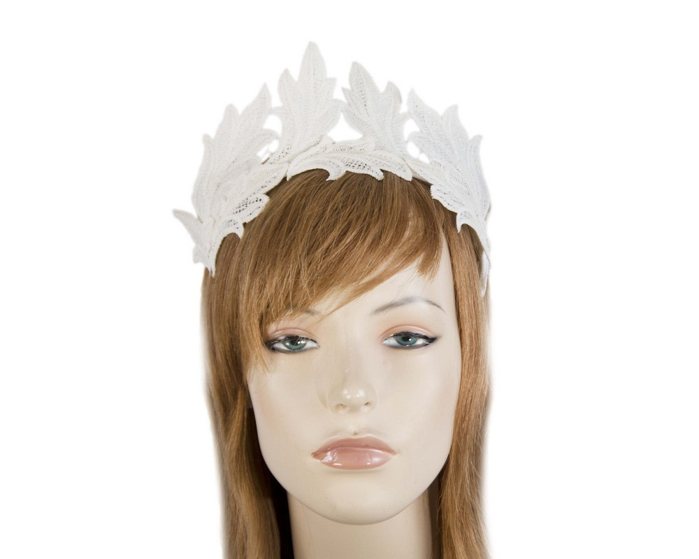 Cream lace crown fascinator headband by Max Alexander