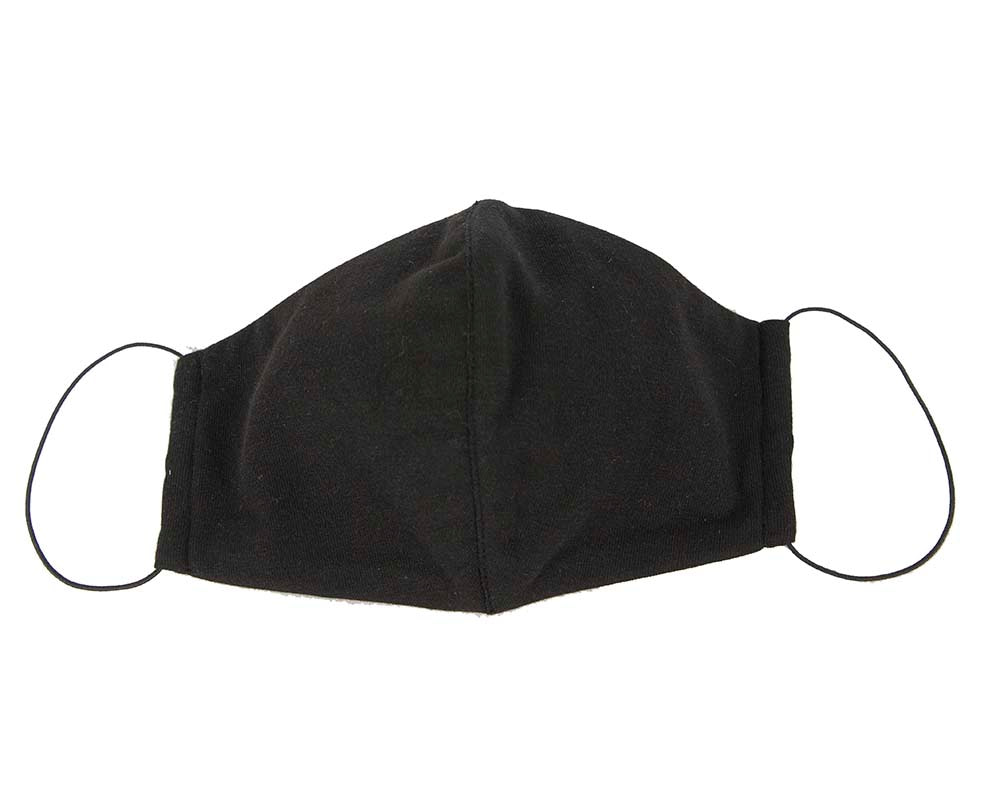 Comfortable re-usable face mask black cotton jersey