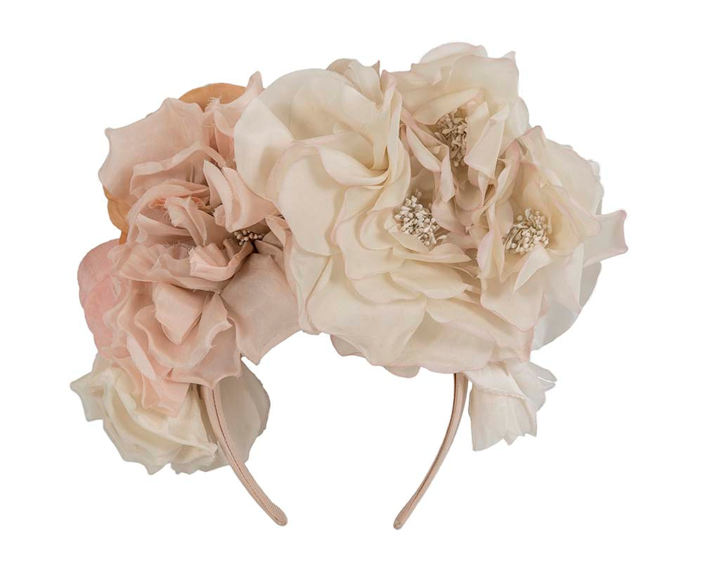 Limited edition large nude silk flower headband fascinator