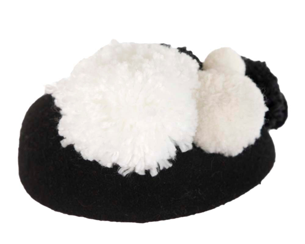 Black winter pillbox with pompoms