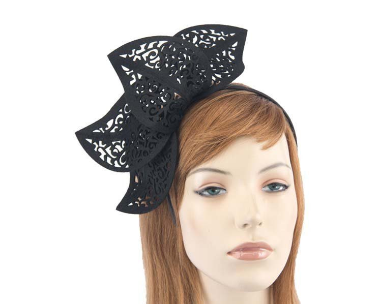 Modern black racing fascinator by Max Alexander