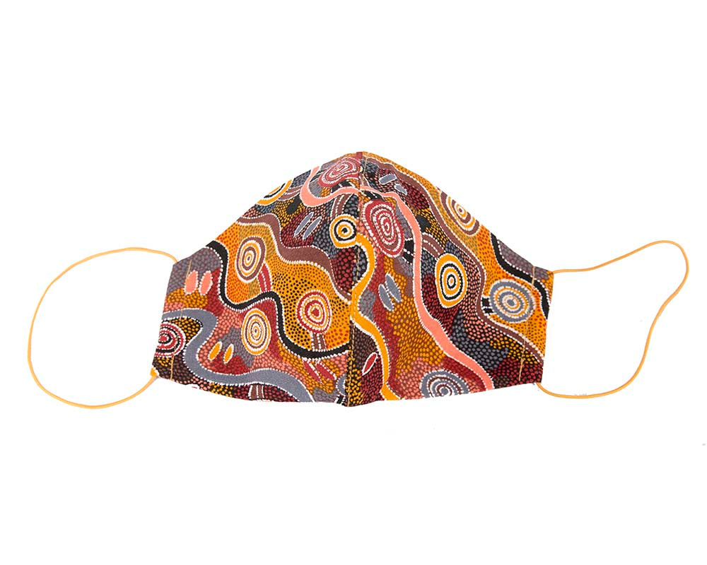 Comfortable re-usable cotton face mask with aboriginal art print
