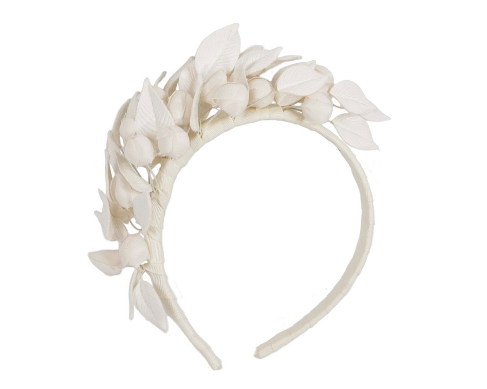 Cream sculptured leather flower headband fascinator by Max Alexander