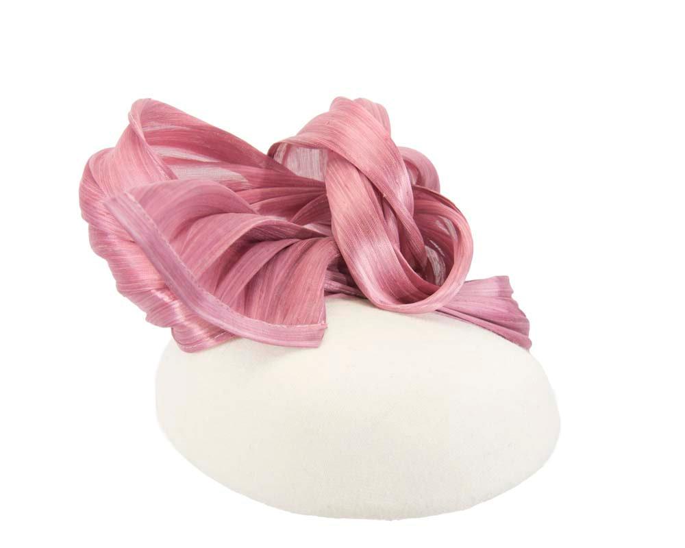 Cream & dusty pink winter pillbox with silk abaca trim