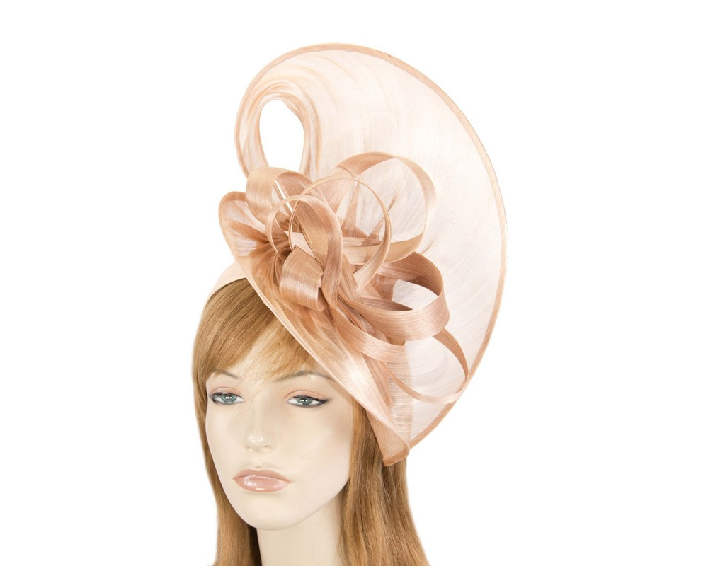 Large nude silk abaca heart fascinator