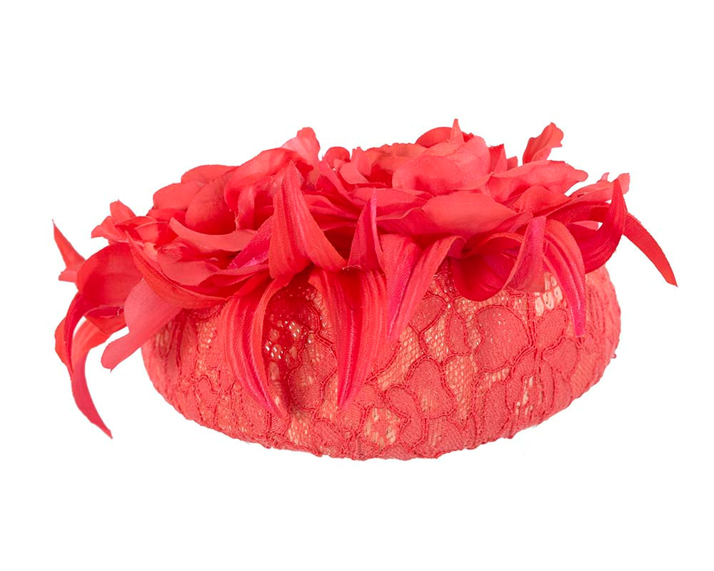 Bright coral pillbox by Cupids Millinery Melbourne