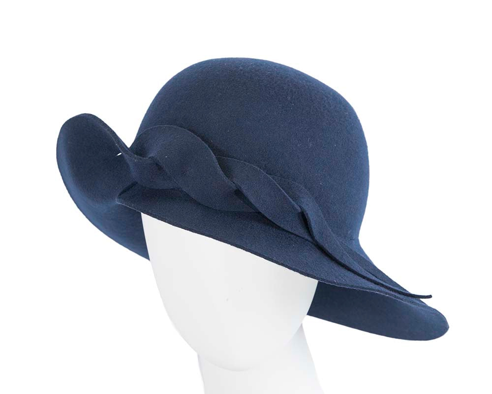 Exclusive wide brim navy felt hat by Max Alexander