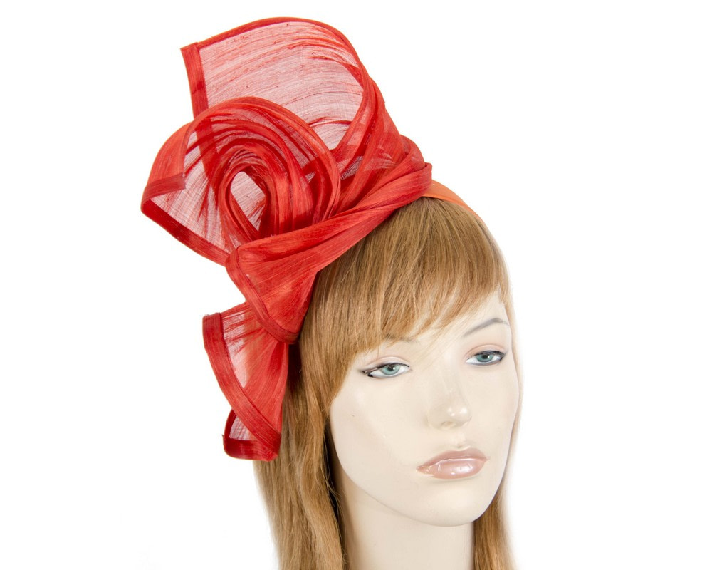 Bespoke orange silk abaca racing fascinator by Fillies Collection