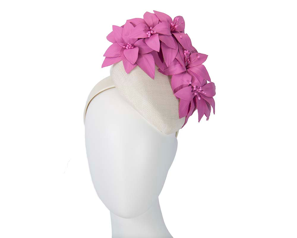 Cream & fuchsia pillbox with leather flowers by Fillies Collection