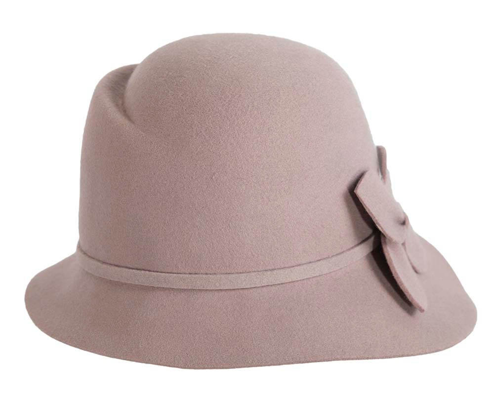 Wide brim ladies winter felt grey fashion hat
