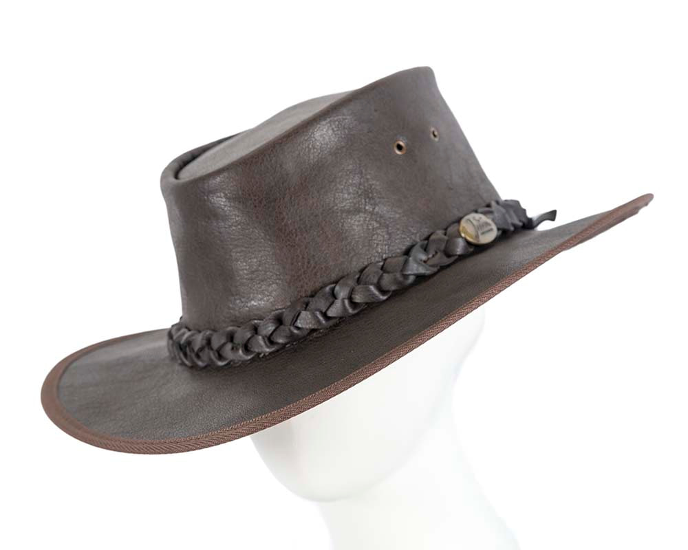 Brown Australian Buffalo Leather Bush Outback Jacaru Hat