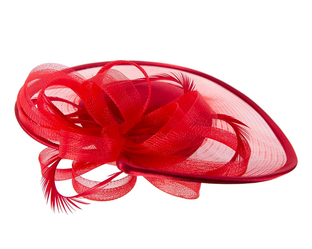 Custom made red pillbox hat with feathers