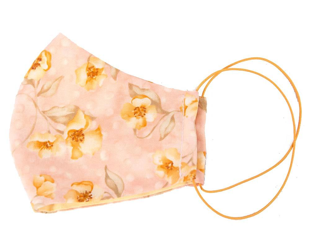 Comfortable re-usable cotton face mask orange flowers