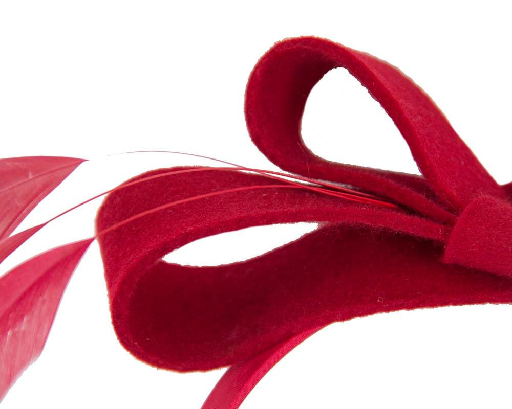Red felt bow winter racing fascinator