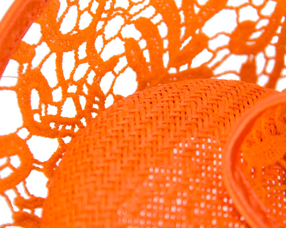 Orange lace fascinator