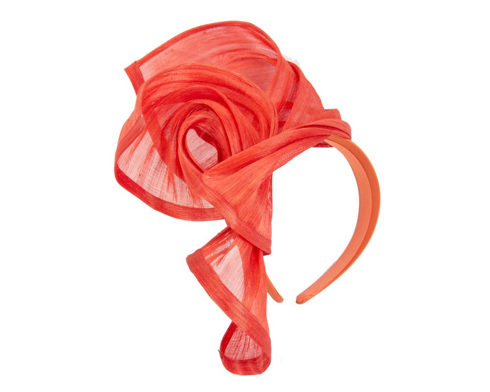 Bespoke orange silk abaca racing fascinator by Fillies Collection