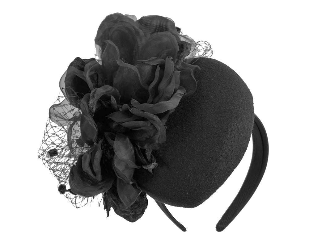 Black pillbox with large flower by Fillies Collection