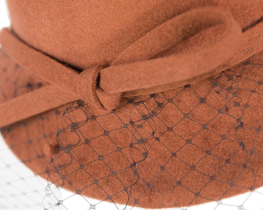 Ladies winter felt hat with veil by Cupids Millinery Melbourne
