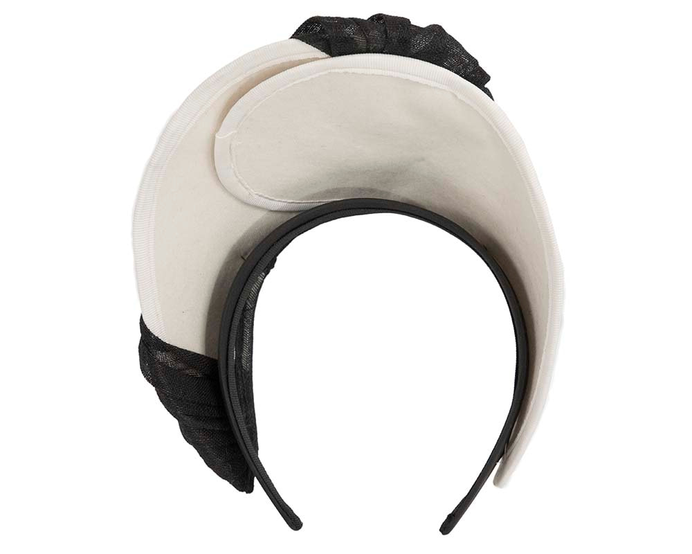 Cream & black crown winter fascinator by Fillies Collection