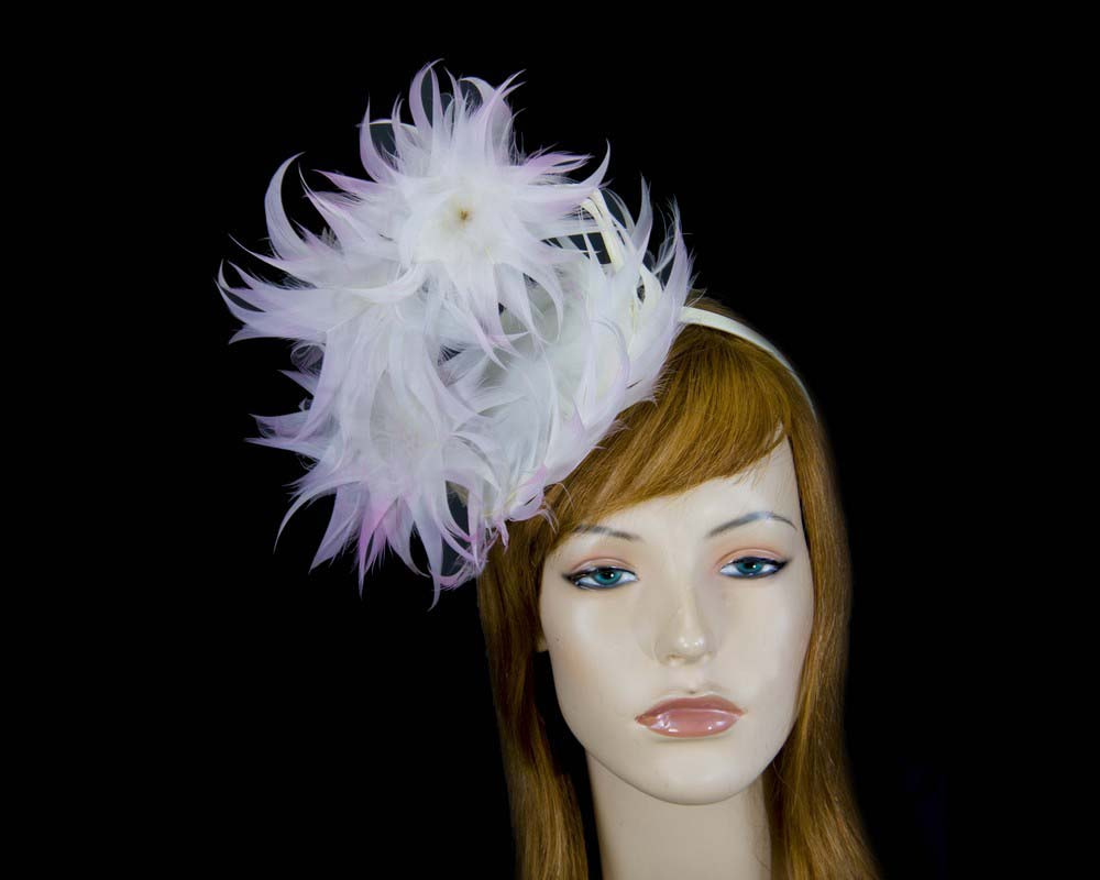 Large cream & pink feather racing fascinator by Max Alexander