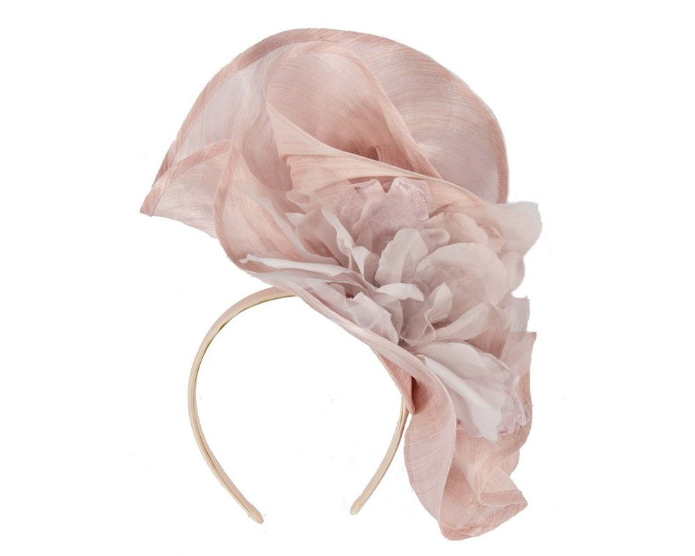 Bespoke large blush fascinator