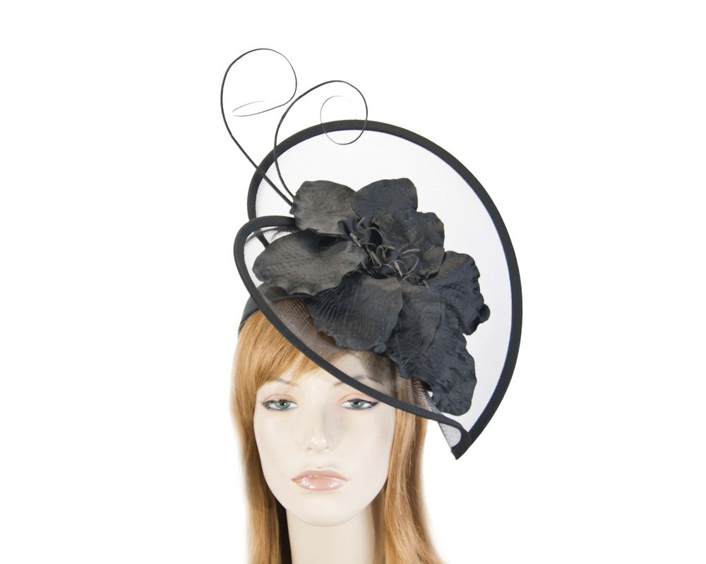 Large black flower heart fascinator