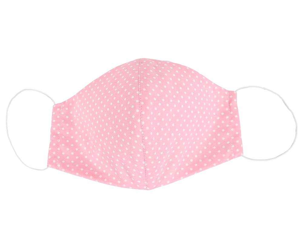 Comfortable re-usable pink cotton face mask with white dots