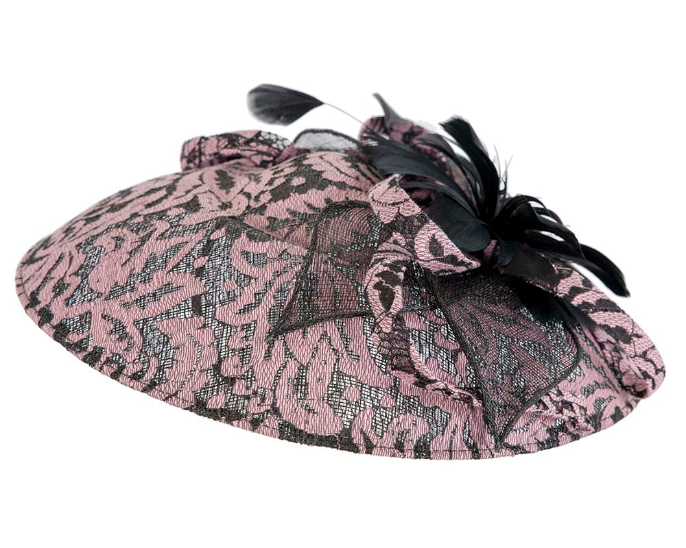 Large lace covered fascinator by Cupids Millinery Melbourne