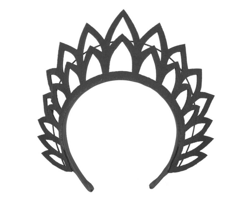 Black laser-cut crown fascinator headband by Max Alexander