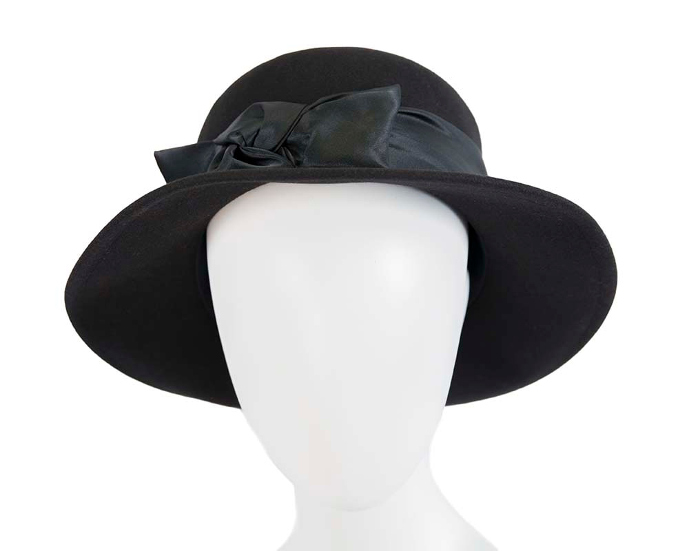 Exclusive black rabbit fur bucket hat with bow