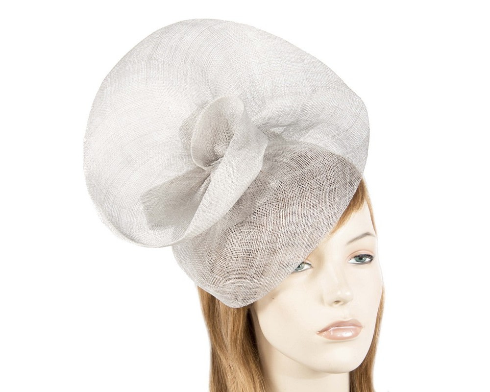 Large silver sinamay fascinator