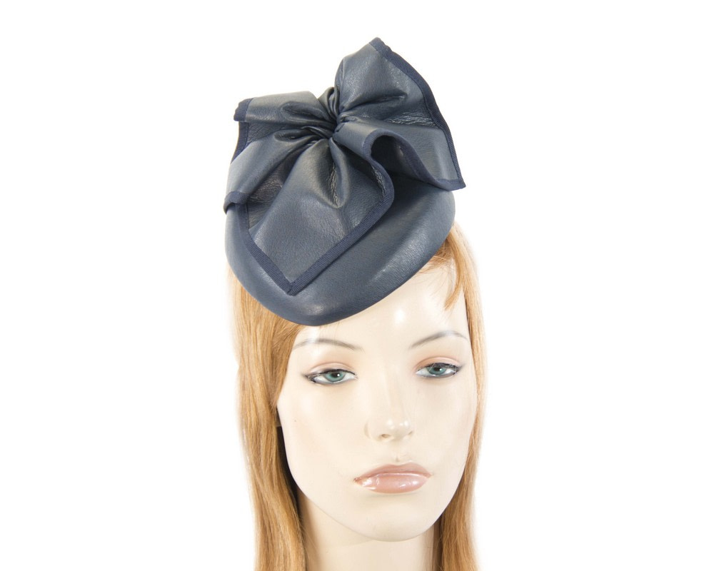 Navy leather racing pillbox fascinator