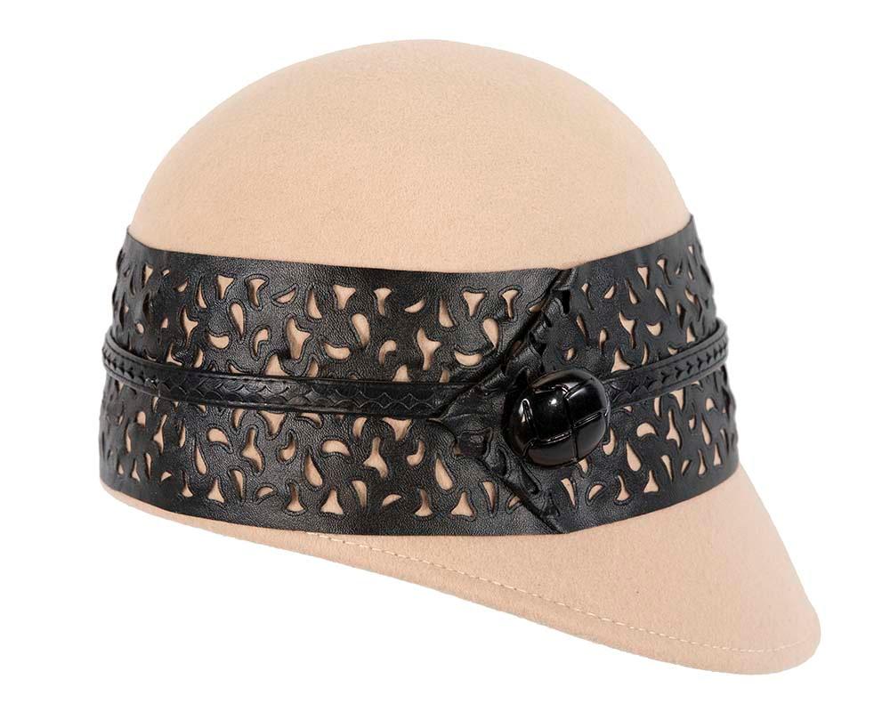 Beige beret hat by Cupids Millinery Melbourne