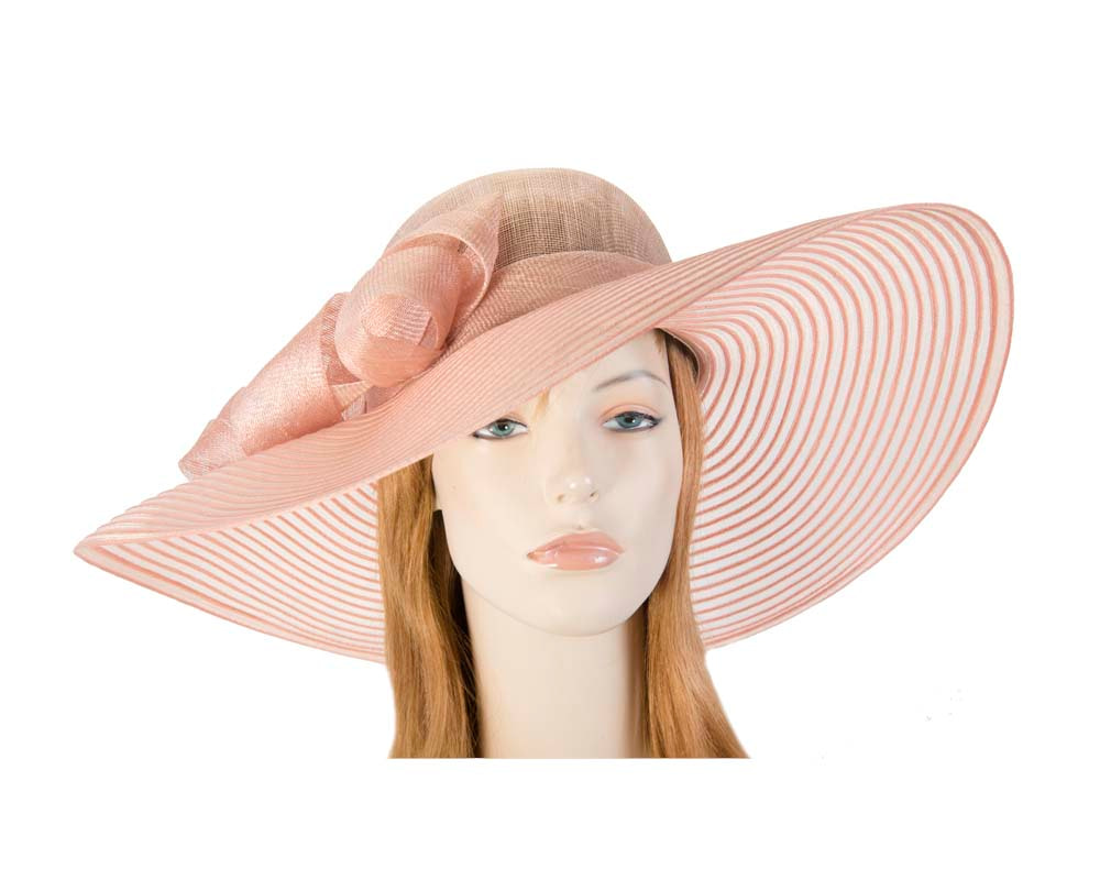 Peach wide brim fashion hat