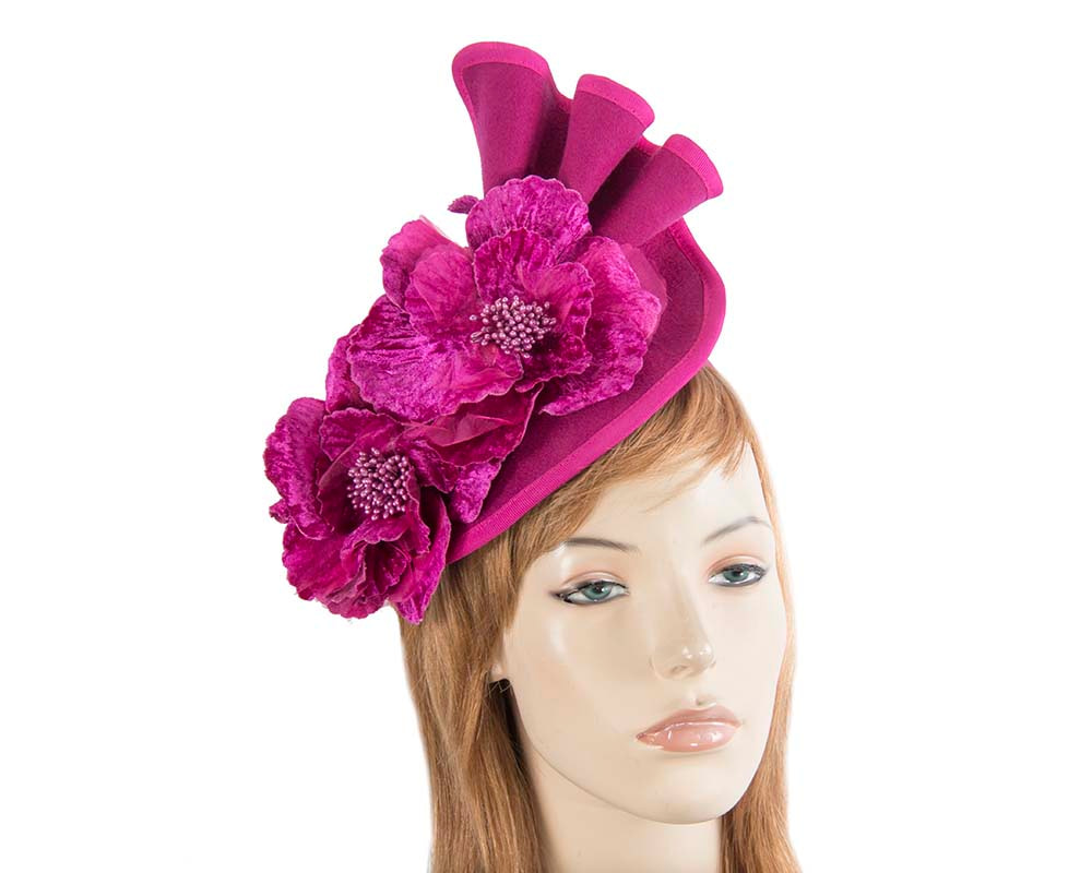 Large fuchsia felt flower fascinator