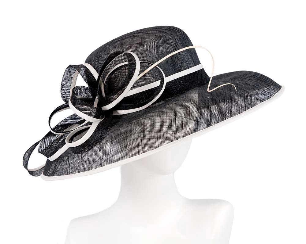 Large black & white racing hat by Cupids Millinery