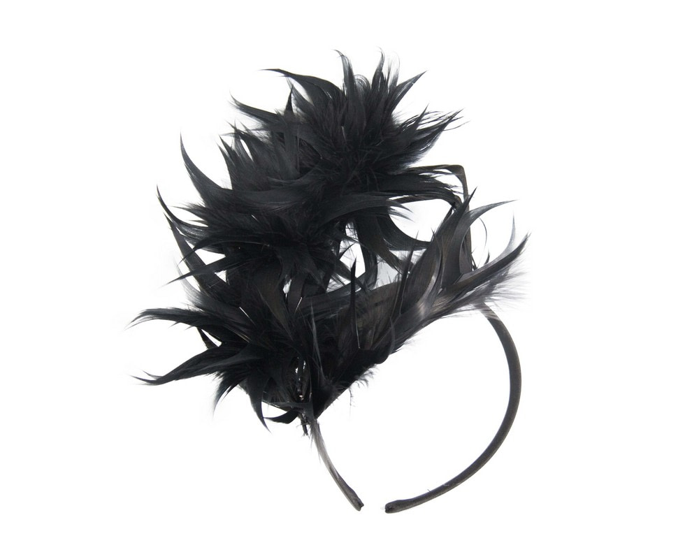 Large black feather racing fascinator by Max Alexander